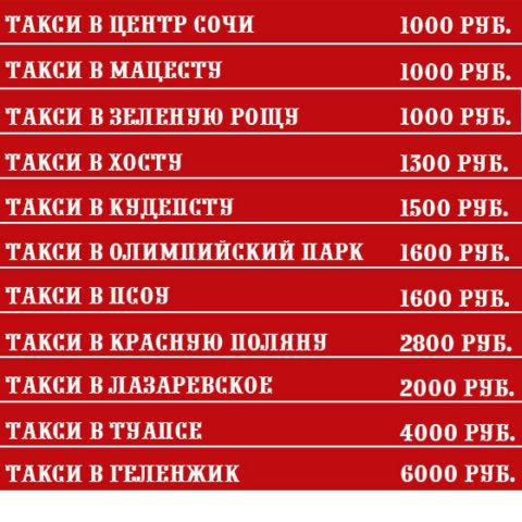 Цены на такси из Лоо в районы Сочи 2018